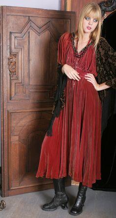 Vintage Rose Velvet Dress