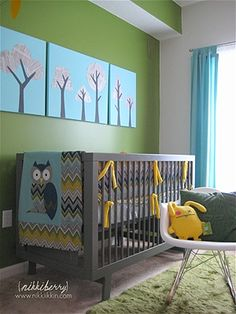 Owl nursery + tree paintings nikkiikkin.com