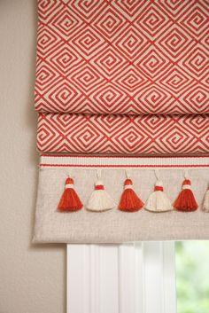 Roman shade with solid border and tassel fringe by Jessica Risko Smith Interior Design