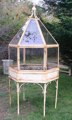 Wrought iron and glass terrarium .