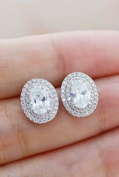 Halo style Cubic Zirconia Stud Bridal Earrings from EarringsNation Bridesmaid Gifts