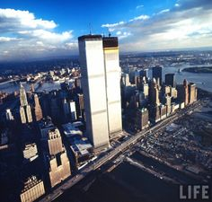 World Trade Center Under Construction from the Aerial View, 1971 These wonderful photographs were taken by LIFE photographer Henry Groskinsk...