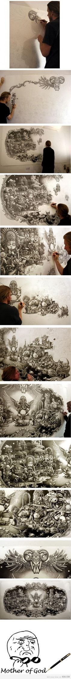 Pen drawing LVL: Over 9000