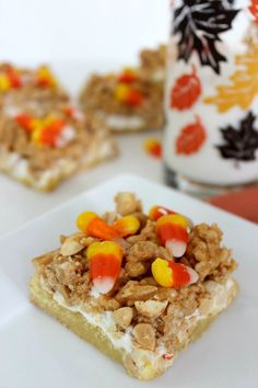 Moist vanilla cake topped with homemade caramel, salty peanuts, and sweet candy corn.