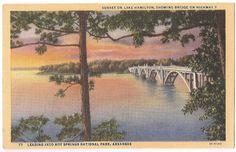 Sunset on Lake Hamilton, Hot Springs National Park, Arkansas - vintage postcard