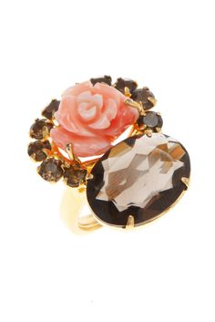 Ring with Coral Carved Rose and Smoky Topaz