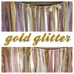 Gold Sparkle Sequin Fabric Banner Garland  Backdrop by ohMYcharley, $38.00