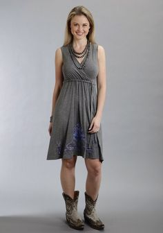 Stetson® Grey Embroidered Jersey Faux Wrap Western Dress