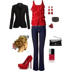 OUTFIT:  Dressy Jeans, Red, Cool Weather