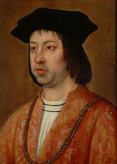 """.King Ferdinand II of Aragon, father of Catherine of Aragon, by Michael Sittow. He married Infanta Isabella, the half-sister and heiress of Henry IV of Castile, on 19 October 1469 in Valladolid. Isabella also belonged to the royal House of Trastámara, and the two were cousins by descent from John I of Castile. They were married with a clear prenuptial agreement on sharing power, and under the joint motto """"tanto monta, monta tanto""""."""