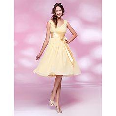 A-line V-neck Knee-length Chiffon and Stretch Satin Bridesmaid Dress – USD $ 99.99