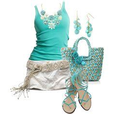 Untitled #431 - Polyvore skirt, outfits, stylish eve, woman fashion, fashion ideas, dream, color, tiffany blue, shoe