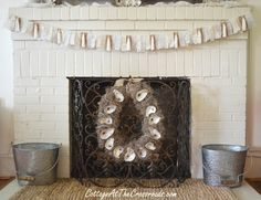 Oyster shell wreath and mantel