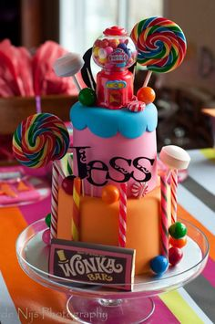 Look at this Charlie and the Chocolate Factory birthday party cake on Kara's Party Ideas! It would be a cute sweet shoppe or candy party cake, too! Found here- www.KarasPartyIdeas.com