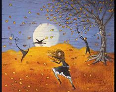A Small Halloween Witch Crow wizard PRINT from the original by Deborah Gregg