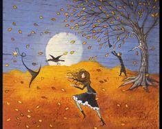 wizard print, halloween witch, witch crow, crow wizard