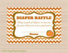 Pumpkin Baby Shower, Digital Diaper Raffle Tickets, Chevron Fall Collection on Etsy, $5.00