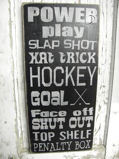 Large Hockey subway primitvie sign by Wildoaks on Etsy, $45.00