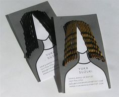 Hair and Makeup Artist Business Card: This is so CREATIVE! die cut  business card allows bobby pins to be slipped on so they resemble hair on the graphic person printed on the card