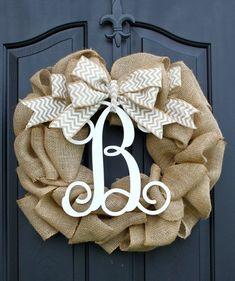 Burlap Wreath – Etsy Wreath – Summer wreaths for door – Door Wreath – Monogram wreath on Etsy, $85.00 | Relax Home Decor christmas wreaths, burlap wreaths, craft, monogram, front doors, fall wreaths, spring wreaths, diy projects, summer wreath