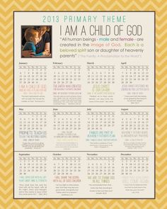 2013 Primary theme items- Binder calendar & cute I Am A Child of God ...