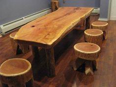 log furniture, log cabin furniture, log cabin art, wooden stool, wood cabin modern