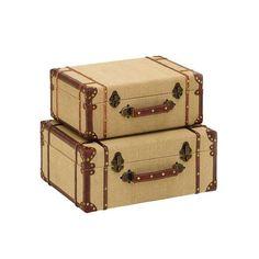 Cambridge Bound Burlap Suitcases - Set of 2 | dotandbo.com