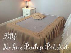 you got personal: DIY NO SEW BURLAP BEDSKIRT