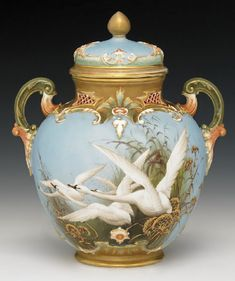 A Royal Worcester vase and cover by Charles Baldwyn, circa 1900