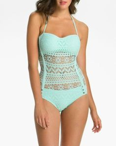 Daydreaming about the beach and this crochet one-piece swimsuit...
