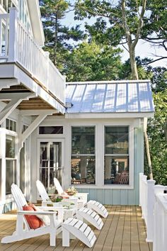 Renovated cabins, new homes, small cottages with big style—see some of the lake getaway homes featured in Midwest Living. I like the styling on this, deck siding, trim.