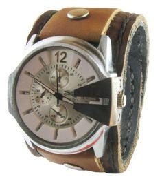 (WAT001) Hand made Classic Design Brown Punk Rock Biker Leather Wristwatch for Men Boys - Adjustable http://suliaszone.com/wat001-hand-made-classic-design-brown-punk-rock-biker-leather-wristwatch-for-men-boys-adjustable/