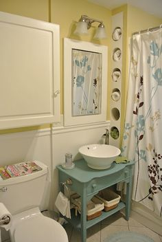 Old table transformed into the perfect bathroom vanity.