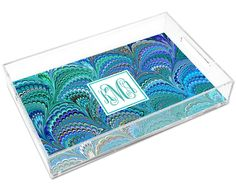 Personalized Peacock Italian Marble Lucite Tray