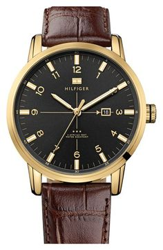 brown leather, tommy hilfiger, leather strap