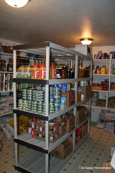 It's good to remember in a food storage room, you don't have to leave a big huge space in the middle, be creative and pull shelves through the room