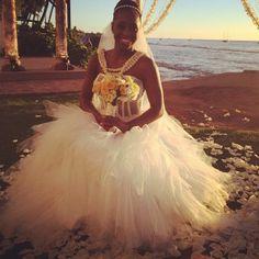 Trinity McCray in her wedding gown, marrying her boyfriend Jon Fatu (Jimmy Uso) in Hawaii.