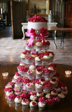Gorgeous hot pink wedding cupcake tower