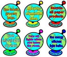 Earth Day globes with recycling and conservation tips written inside of them. globe