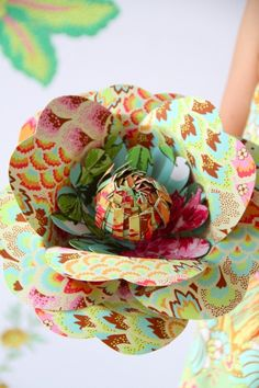 large flower with paper pattern