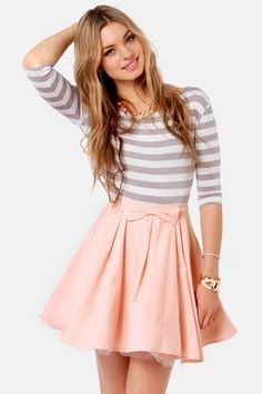 style, circle skirts, dress, outfit, mini skirts, bow, stripe, shirt, peach mini