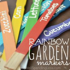 Now you know what to do with all that leftover craft paint--make some rainbow-colored garden markers. Blogger Ruth tells how. || @louise living Well Spending Less