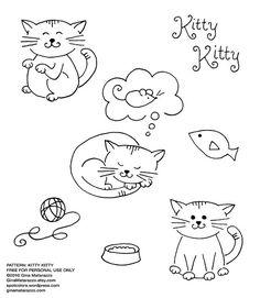 cute kitties free embroidery pattern  By ginamatarazzostuff Gina Matarazzo