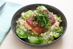 """Crispy Salmon & Barley-Fennel """"Risotto"""" with Fresh Herb & Walnut Salad."""