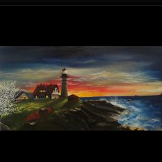 """""""Oregon Lighthouse"""" oil painting"""