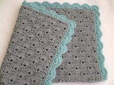 Love these colors for a crochet baby blanket! Would work for a girl or a boy! love the gray blanket with colored border