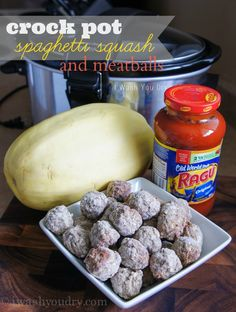 Super Easy Crock Pot Spaghetti Squash with Meatballs - I Wash You Dry