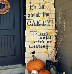 Pretty cute sign for front door. If I wasn't nervous of lil neighborhood kids destroying my decorations outside, I would totally do it