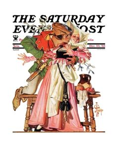 """""""Stealing a Christmas Kiss"""" By J.C. Leyendecker. Issue: December 23, 1933. ©SEPS. Giclee print available at Art.com."""
