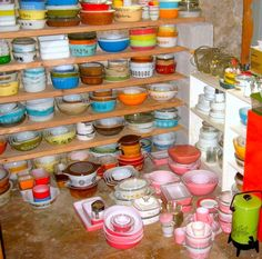 That's an impressive bunch of Pyrex, especially the pink!
